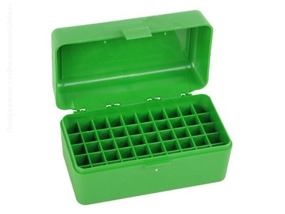 MTM Case-Gard R-50 50 Round Medium Rifle Ammo Box Green Коробка на 50 патронов для 308 Winchester и других, зелёная